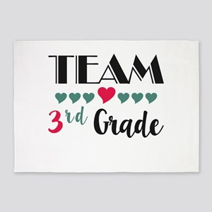 Team 3rd Grade Teacher Shirts Back 5'x7'Area Rug