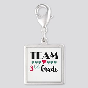 Team 3rd Grade Teacher Shirts Silver Square Charm