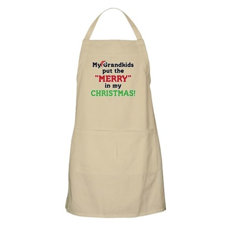GRANDKIDS PUT MERRY IN CHRISTMAS BBQ Apron