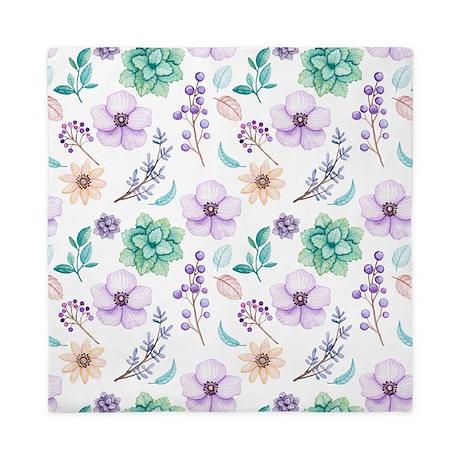 Pastel Watercolor Flowers Queen Duvet