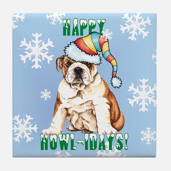 Holiday Bulldog Tile Coaster