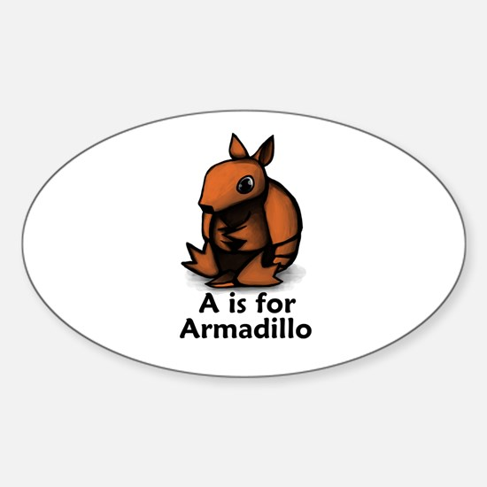 A is for Armadillo Oval Decal