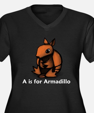 A is for Armadillo Women's Plus Size V-Neck Dark T
