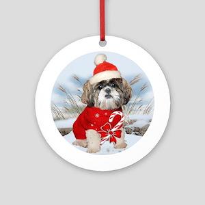 Shih Tzu Santa Paws Ornament (Round)