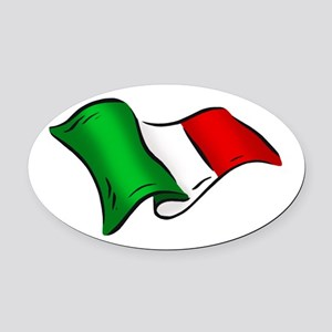 Waving Italian Flag Oval Car Magnet