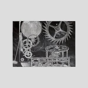 chalkboard steampunk gear clock 5'x7'Area Rug