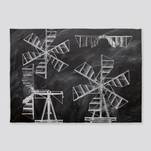 blackboard machinery windmill paten 5'x7'Area Rug