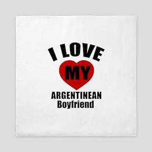 I Love My Argentinan Boyfriend Queen Duvet