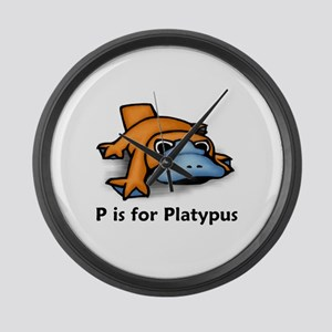 P is for Platypus Large Wall Clock