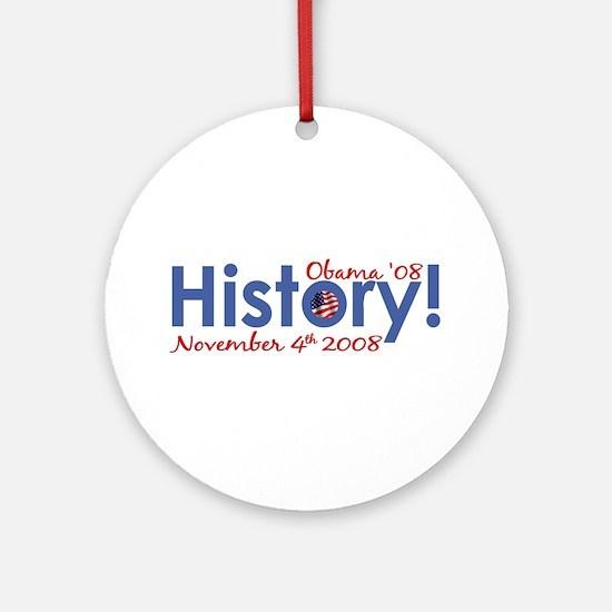 History Obama Wins '08 Ornament (Round)