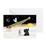 XmasDove/Westie & Scotty Greeting Cards (Pk of