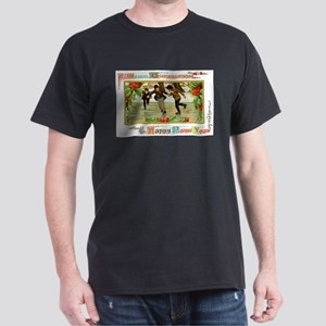 Christmas Ice Skating Scene (Front) Dark T-Shirt