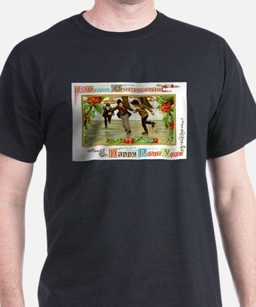 Christmas Ice Skating Scene (Front) T-Shirt