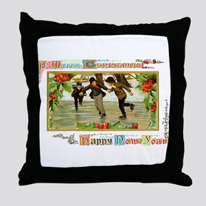Christmas Ice Skating Scene Throw Pillow