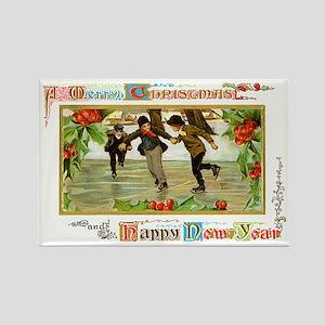 Christmas Ice Skating Scene Rectangle Magnet