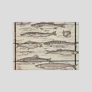 barnwood lakehouse freshwater fish 5'x7'Area Rug