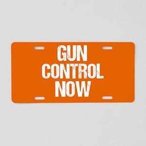 Gun Control Now Orange Aluminum License Plate