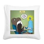 T-Rex at the Dentist Square Canvas Pillow
