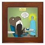 T-Rex at the Dentist Framed Tile
