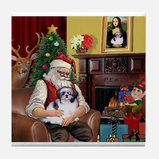 Santa's Shih Tzu (#1) Tile Coaster