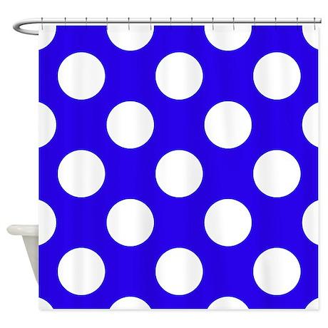 Navy Blue Polka Dots Shower Curtain