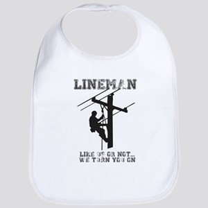 Lineman T Shirt Baby Bib