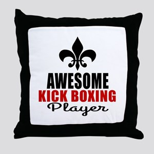 Awesome Kickboxing Player Throw Pillow