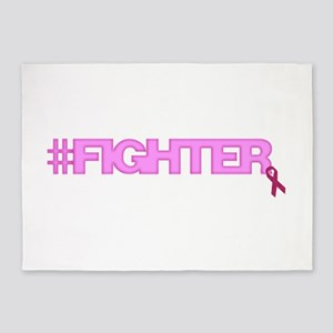 Hashtag Fighter Breast Cancer Awareness 5'x7'Area