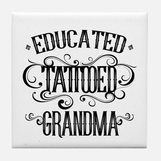 Tattooed Grandma Tile Coaster
