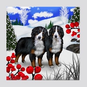 BERNESE MOUNTAIN DOGS WINTER BERRIES Tile Coaster