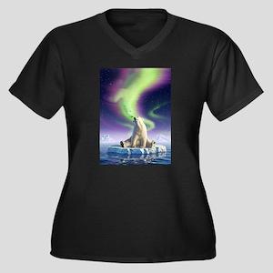 Arctic Kiss 1 Women's Plus Size V-Neck Dark T-Shir