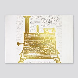 steam engine power old vintage engi 5'x7'Area Rug