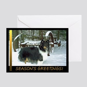 Winter Wagon Sheltie Greeting Card