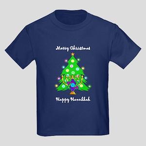 Hanukkah and Christmas Interfaith Kids Dark T-Shir