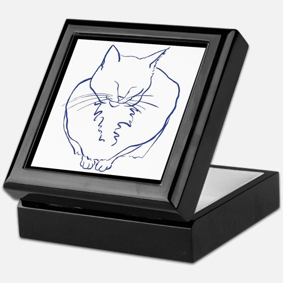 Contented Cat with Border Keepsake Box
