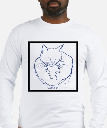 Contented Cat with Border Long Sleeve T-Shirt