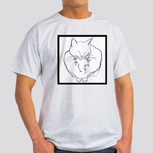Contented Cat with Border Light T-Shirt