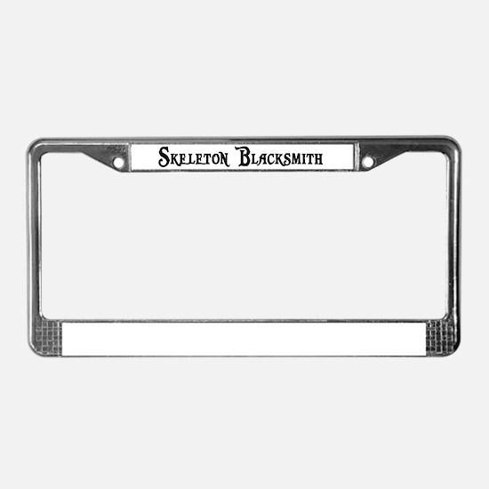 Skeleton Blacksmith License Plate Frame