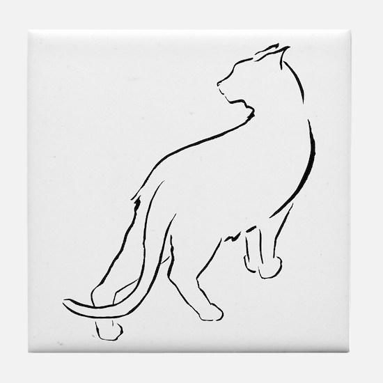 Cat Looking Over Shoulder Tile Coaster