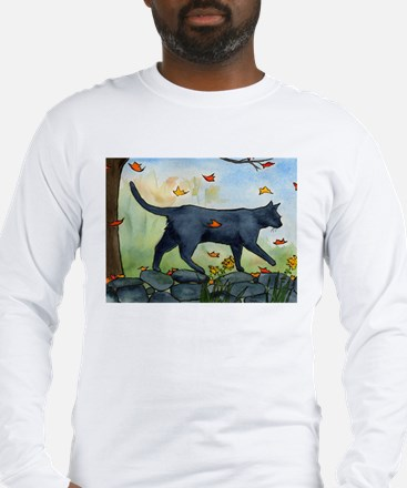 Cat Walking On Rock Wall Long Sleeve T-Shirt