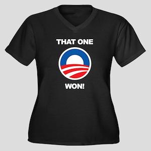 That One Won! Women's Plus Size V-Neck Dark T-Shir