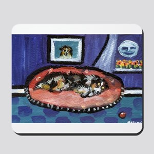 Australian shepherd blue bed Mousepad
