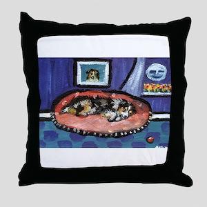Australian shepherd blue bed Throw Pillow