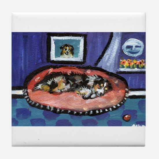 Australian shepherd blue bed Tile Coaster