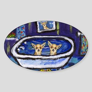 CHIHUAHUA bath Oval Sticker