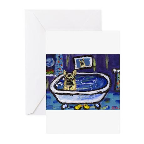 GERMAN SHEPHERD bath Greeting Cards (Pk of 10)