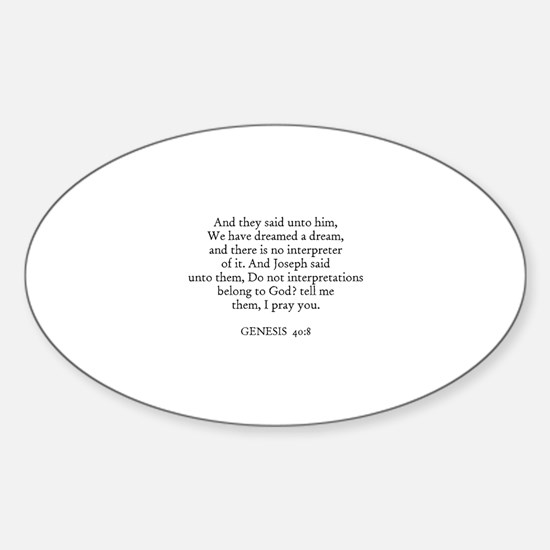 GENESIS 40:8 Oval Decal