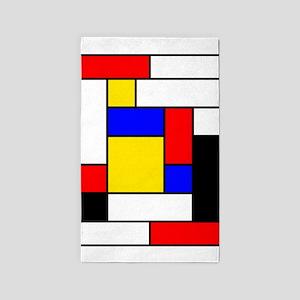 Mondrian Geometric Art 2 Area Rug