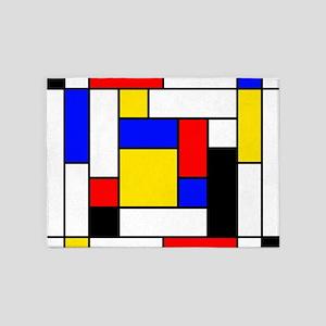 Mondrian Geometric Art 2 5'x7'Area Rug