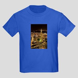 Transamerica Pyramid and Coit Kids Dark T-Shirt